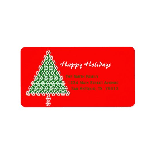 Red Christmas Tree Christmas Return Address Label