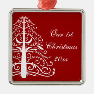 Red Christmas Tree First Christmas Together Silver-Colored Square Decoration