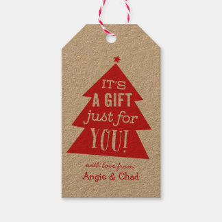 Red Christmas Tree Gift Gift Tags