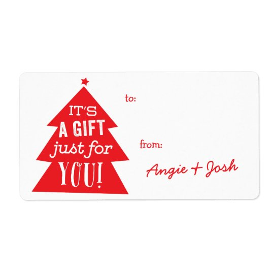 Red Christmas Tree Gift Tag Sticker Shipping Label