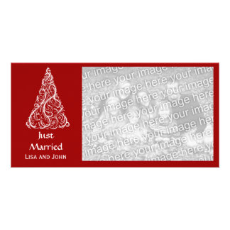Red Christmas Tree Just Married Red Photo Card