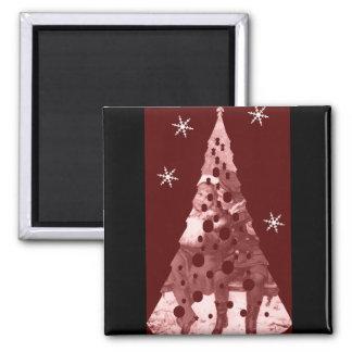 Red Christmas Tree Refrigerator Magnet