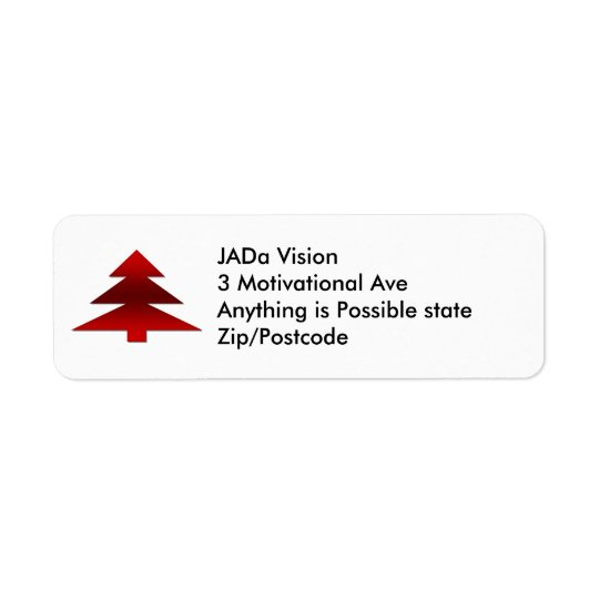 Red Christmas Tree Return Address Label