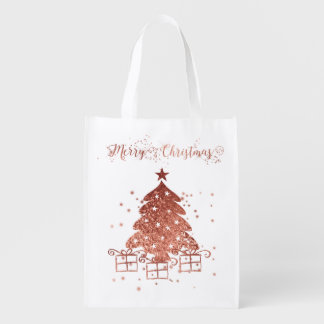 Red Christmas tree Reusable Grocery Bag
