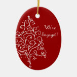 Red Christmas Tree Winter Engagement Ornament