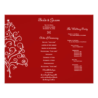 Red Christmas Tree Winter Tri Fold Wedding Program 21.5 Cm X 28 Cm Flyer