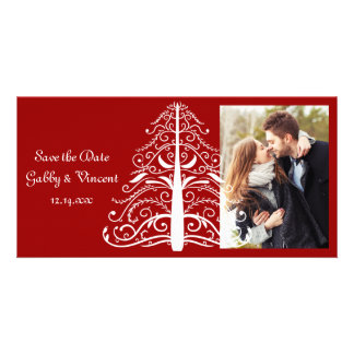 Red Christmas Tree Winter Wedding Save the Date Custom Photo Card