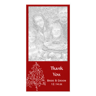 Red Christmas Tree Winter Wedding Thank You Photo Greeting Card
