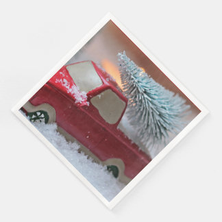 Red Christmas Truck Carying Tree Paper Napkin