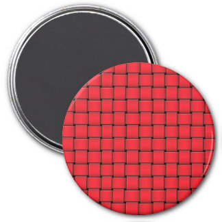 Red Christmas Weave Basket Print Fridge Magnet