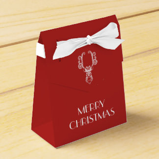 Red Christmas White Reindeer Personalized Message Favour Box