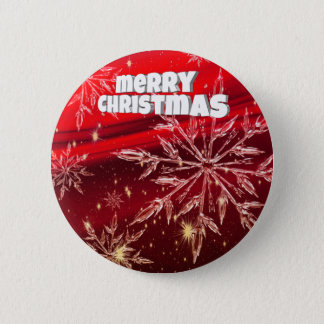 Red christmas white snow 6 cm round badge