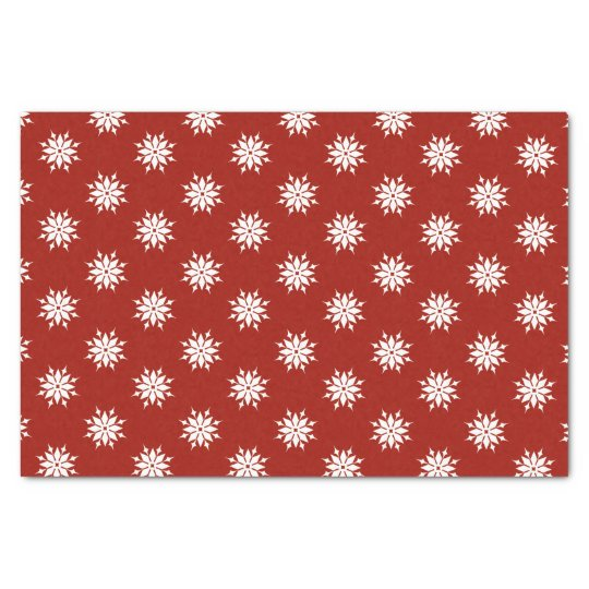 Red Christmas white snowflakes Tissue Paper