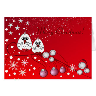 Red christmas with birds greeting card