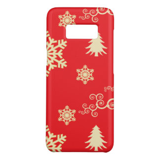Red Christmas with Cream Snowflakes Case-Mate Samsung Galaxy S8 Case