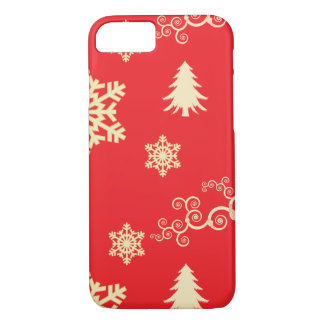 Red Christmas with Cream Snowflakes iPhone 8/7 Case