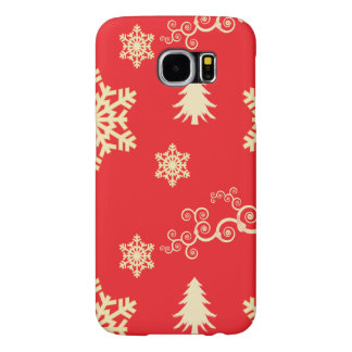 Red Christmas with Cream Snowflakes Samsung Galaxy S6 Cases