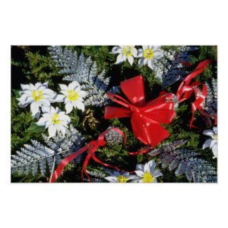 Red Christmas wreath flowers Print