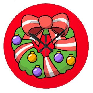 Red Christmas Wreath Wallclock