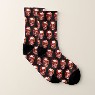 Red Chrome Skull Socks