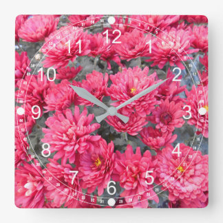 Red Chrysanthemum Flowers Square Wall Clock