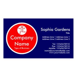 Red Circle - Dark Blue Business Card Templates