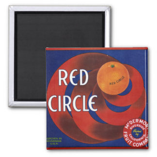 Red Circle Orange Crate Label Fridge Magnet