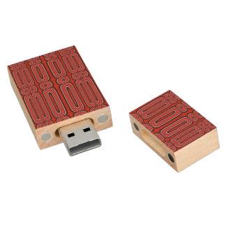Red Circle Pattern Wood USB 2.0 Flash Drive