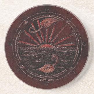 Red Circle Sun Illustration Coaster