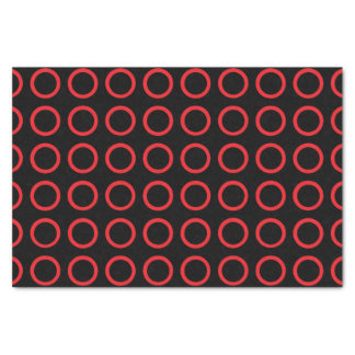 Red Circles Black Tissue Paper