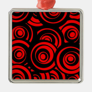 Red Circles Silver-Colored Square Decoration