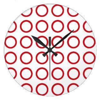 Red Circles Wallclocks