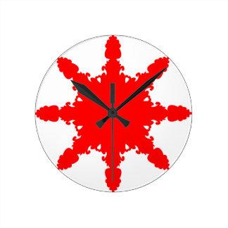 Red Circular Print Round Clock