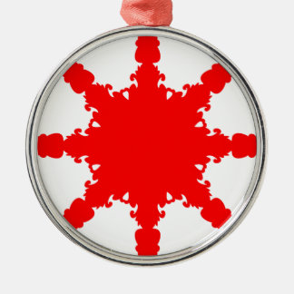 Red Circular Print Silver-Colored Round Decoration