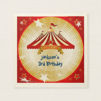 Red Circus Tent, Custom, Birthday Disposable Serviette