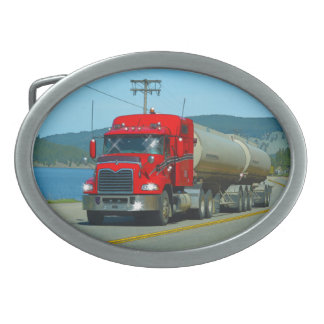 Red Cistern Truck & Highway Art for Lorry-lovers Oval Belt Buckle