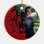 Red Class 2014 Graduation Photo Round Ceramic Decoration