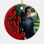 Red Class 2015 Graduation Photo Round Ceramic Decoration