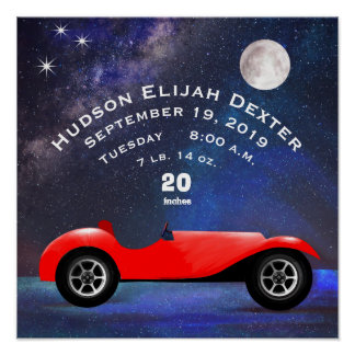 Red Classic Car Baby Boys Birth Stat Birth Record Poster