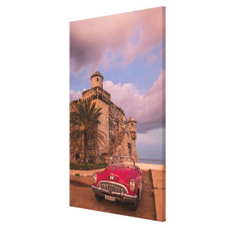 Red Classic Car, Cuba Canvas Print