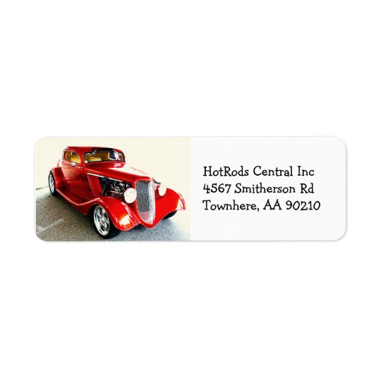 Red Classic Car Hot Rod Return Address Label