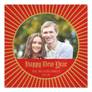 Red Classic Decorative Happy New Year Photo Magnetic Invitations