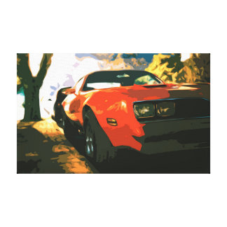 Red Classic Muscle Car during Night Canvas