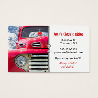 Red Classic Old Truck Business Card