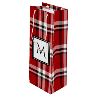 Red Classic Plaid Monogram Wine Gift Bag