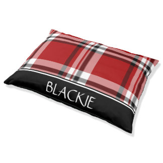 Red Classic Plaid Personalized Pet Bed