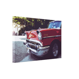 Red Classic Vintage Car Canvas in Clean Style