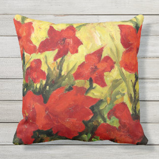 Red Clematis, Bold Red Floral Painting Outdoor Cushion