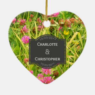 Red Clover And Buttercup Personalized Wedding Ceramic Ornament
