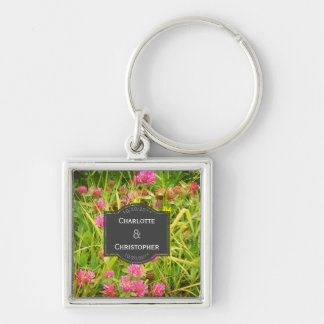 Red Clover And Buttercup Personalized Wedding Key Ring